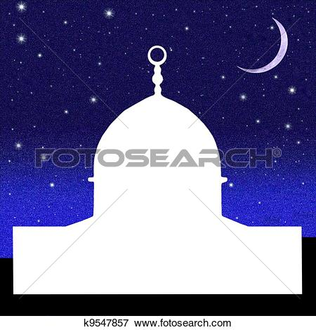 Stock Photo of Dome of the Rock white Silhouette k9547844.