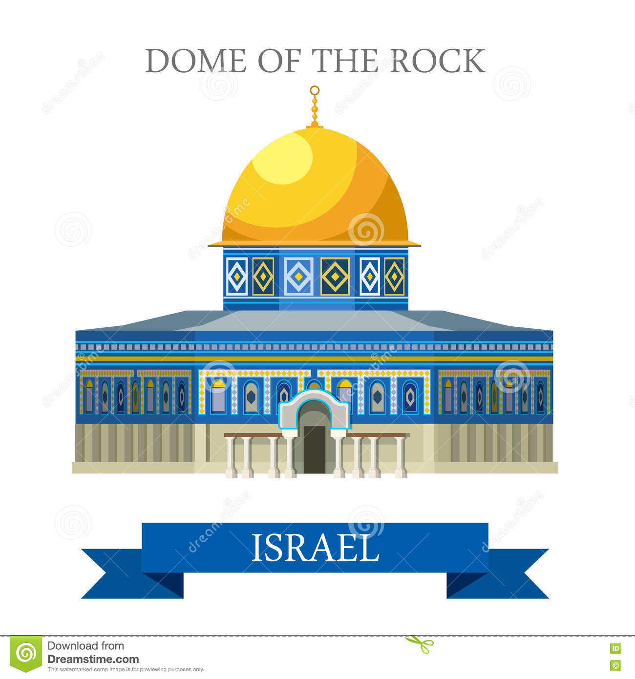 Interior Dome Rock Jerusalem Israel Stock Illustrations.