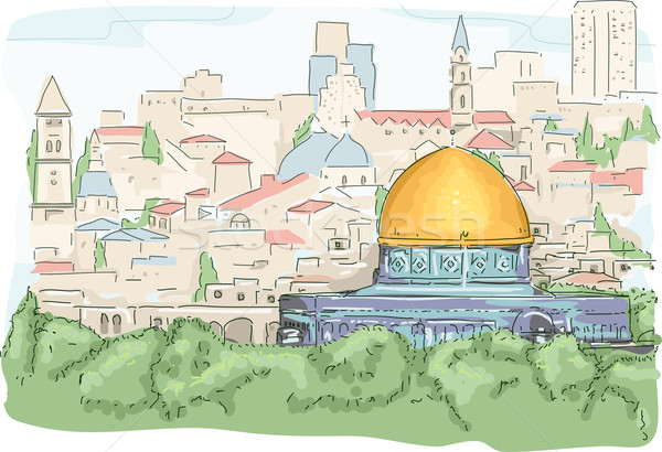 Dome of the Rock vector illustration © lenm (#3899592).
