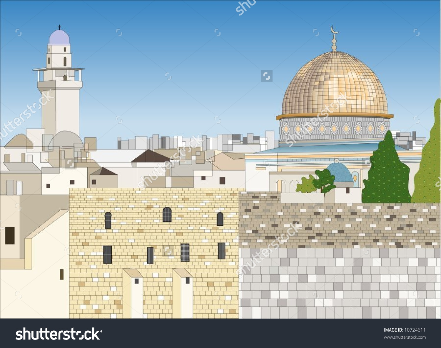Jerusalem Skyline Dome Rock Stock Vector 10724611.
