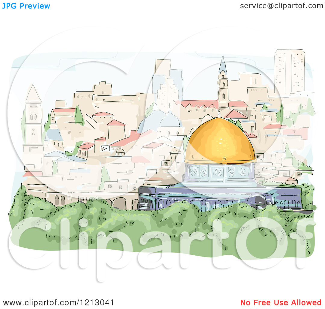 Clipart of a View of the Dome of the Rock in Jerusalem.