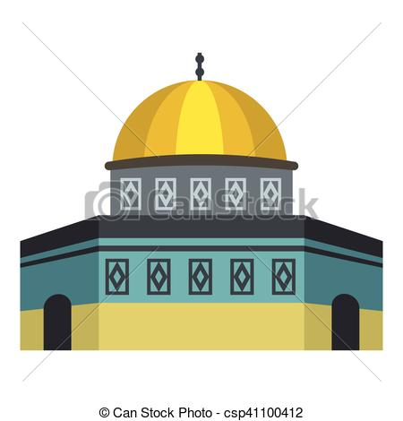 Vector Clip Art of Dome of the Rock on Temple Mount icon, flat.