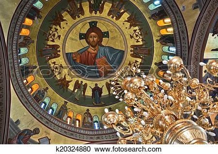 Stock Photography of The dome painting and chandelier in the Greek.