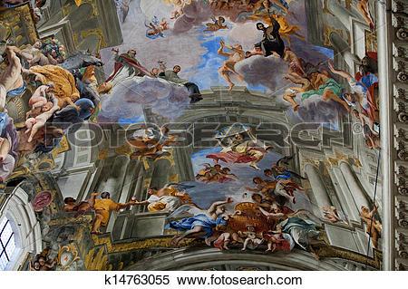 Stock Image of Dome of church of Saint Ignatius of Loyola. Rome.