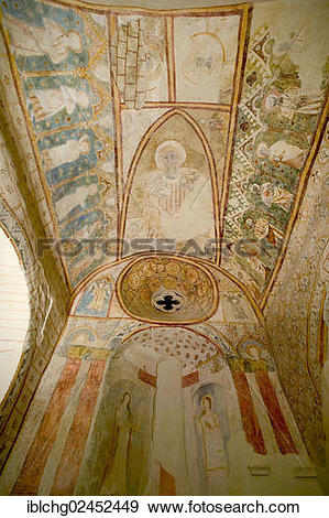 "Stock Photograph of ""Mural painting, church of Pignols, Puy de."