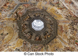 Stock Photo of Dome Paintings Cathedral Florence.