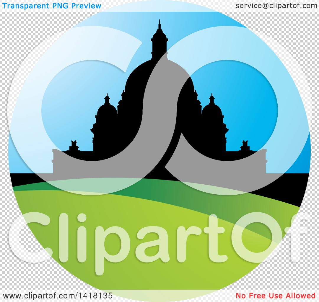 Clipart of a Silhouetted Domed Building in a Circle.