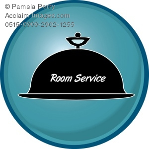 Clip Art Illustration of a Domed Room Service Icon Button.