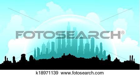 Clip Art of Domed City k18971139.
