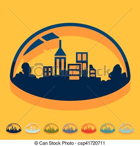 Vector Clip Art of Flat design: domed city csp41720711.