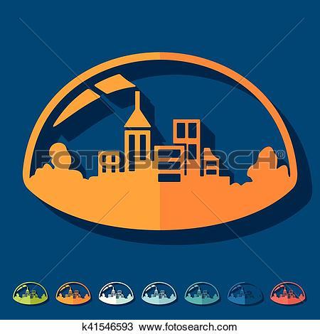Clipart of Flat design: domed city k41546593.