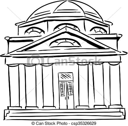 Clip Art of Synagogue with Domed Roof.