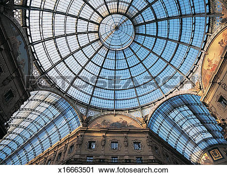 Stock Photography of Domed Glass Ceiling of the Galleria Vittoria.