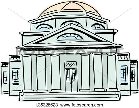Drawing of Building with Domed Roof k35326623.