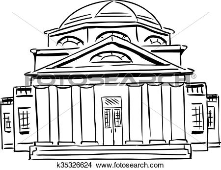 Drawings of Outlined Church with Domed Roof k35326624.