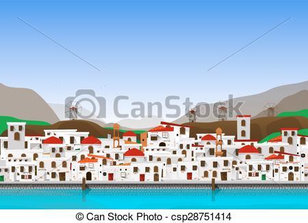 Vector Clip Art of Vacation at Greece.