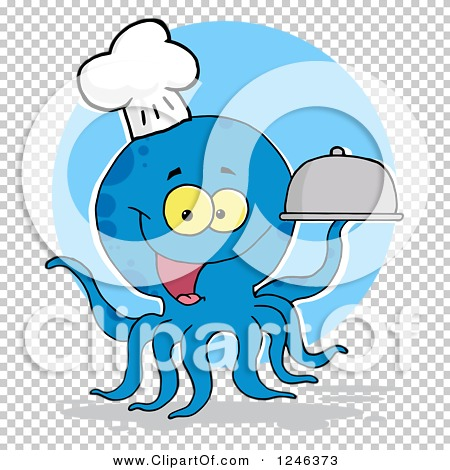 Clipart of a Happy Blue Chef Octopus Holding a Dome Platter over a.