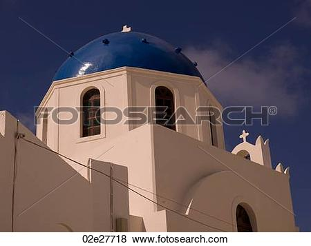 Pictures of Blue dome on building in Santorini Greece 02e27718.