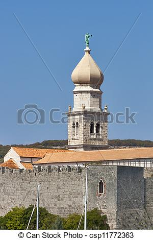 Stock Image of Krk Cathedral Bell Tower.