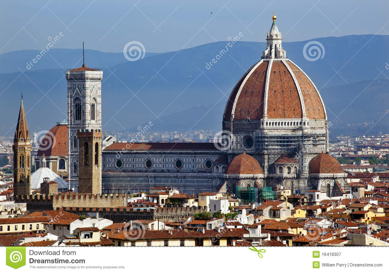 Giotto's Bell Tower Duomo Cathedral Florence Stock Photo.