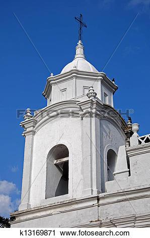 Stock Photography of Cathedral bell tower, Ojojona, Honduras.