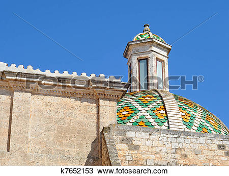 Stock Photo of Ostuni, colorful dome of the cathedral or duomo.