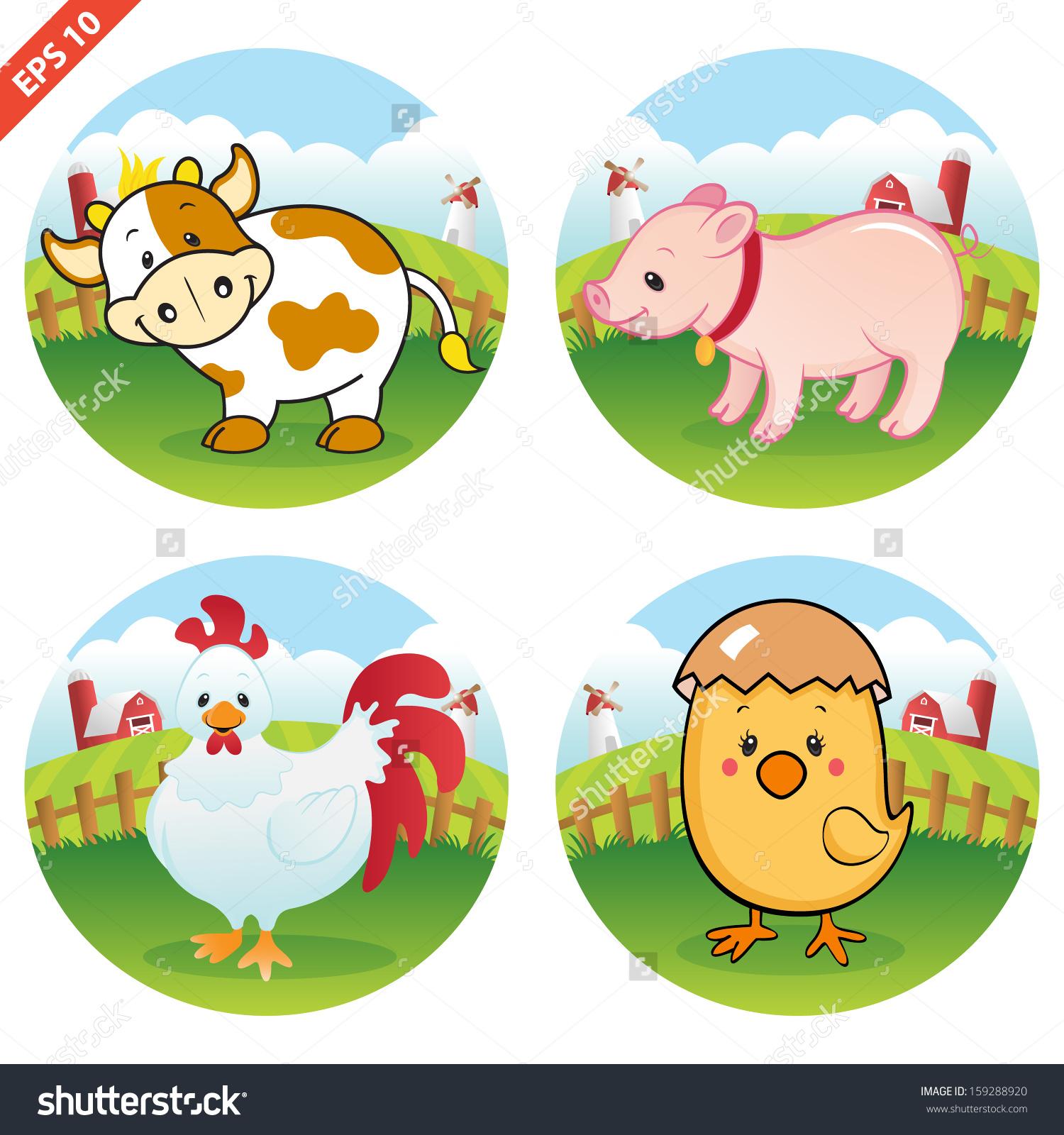 Farm Animal Clipart Collection Vector Stock Vector 159288920.