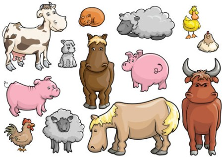 Cartoon Farm Animals Clipart.