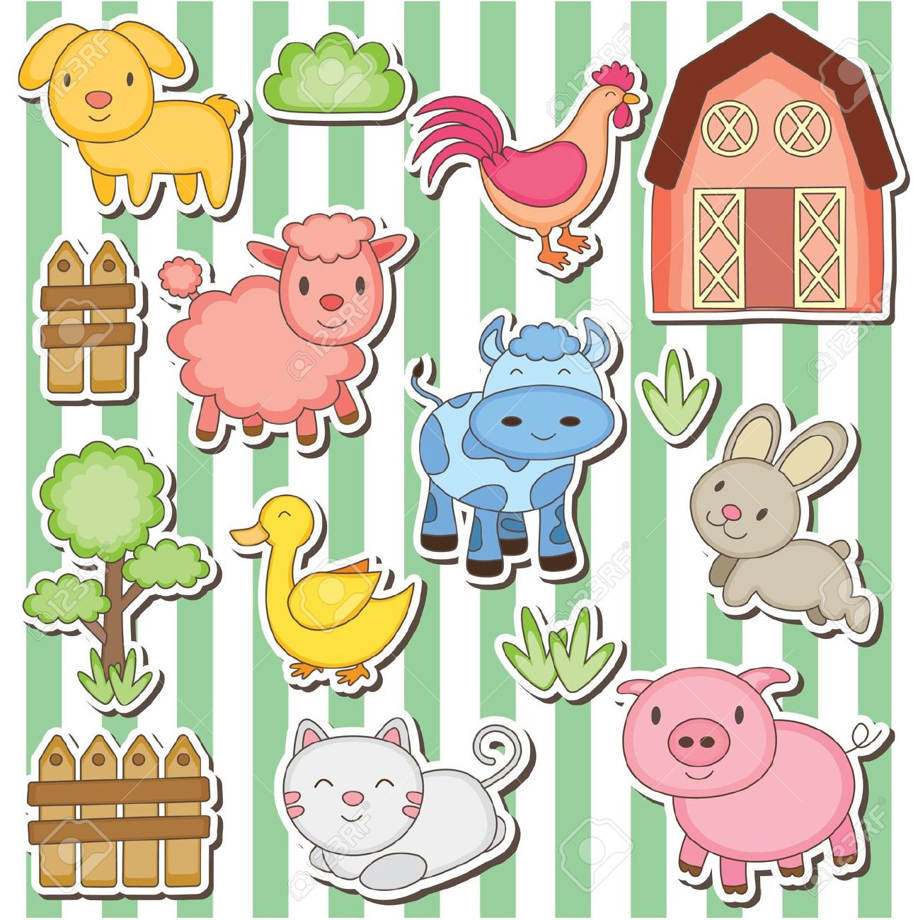 Happy Farm Animals Clip Art Royalty Free Cliparts, Vectors, And.
