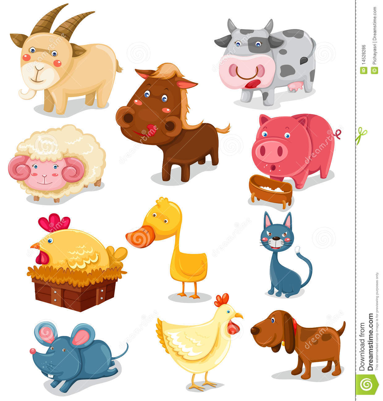 Cartoon Farm Animals Stock Vector.