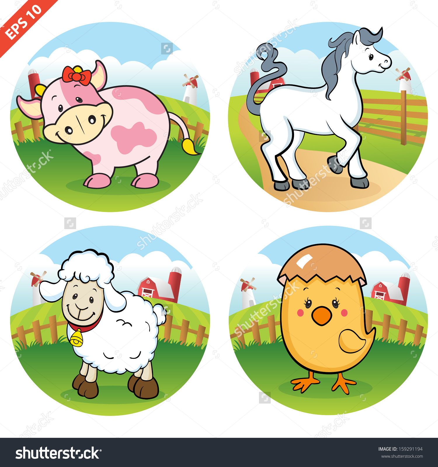 Farm Animals Clipart Vector Stock Vector 159291194.