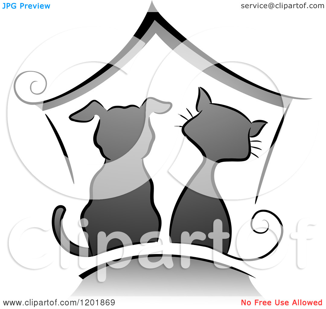 Cartoon dog house with cat clipart.