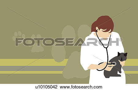 Clip Art of Female veterinarian examining a domestic cat with a.