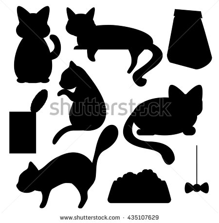 Cats Cat Food Silhouettes Vector Clipart Stock Vector 435107629.