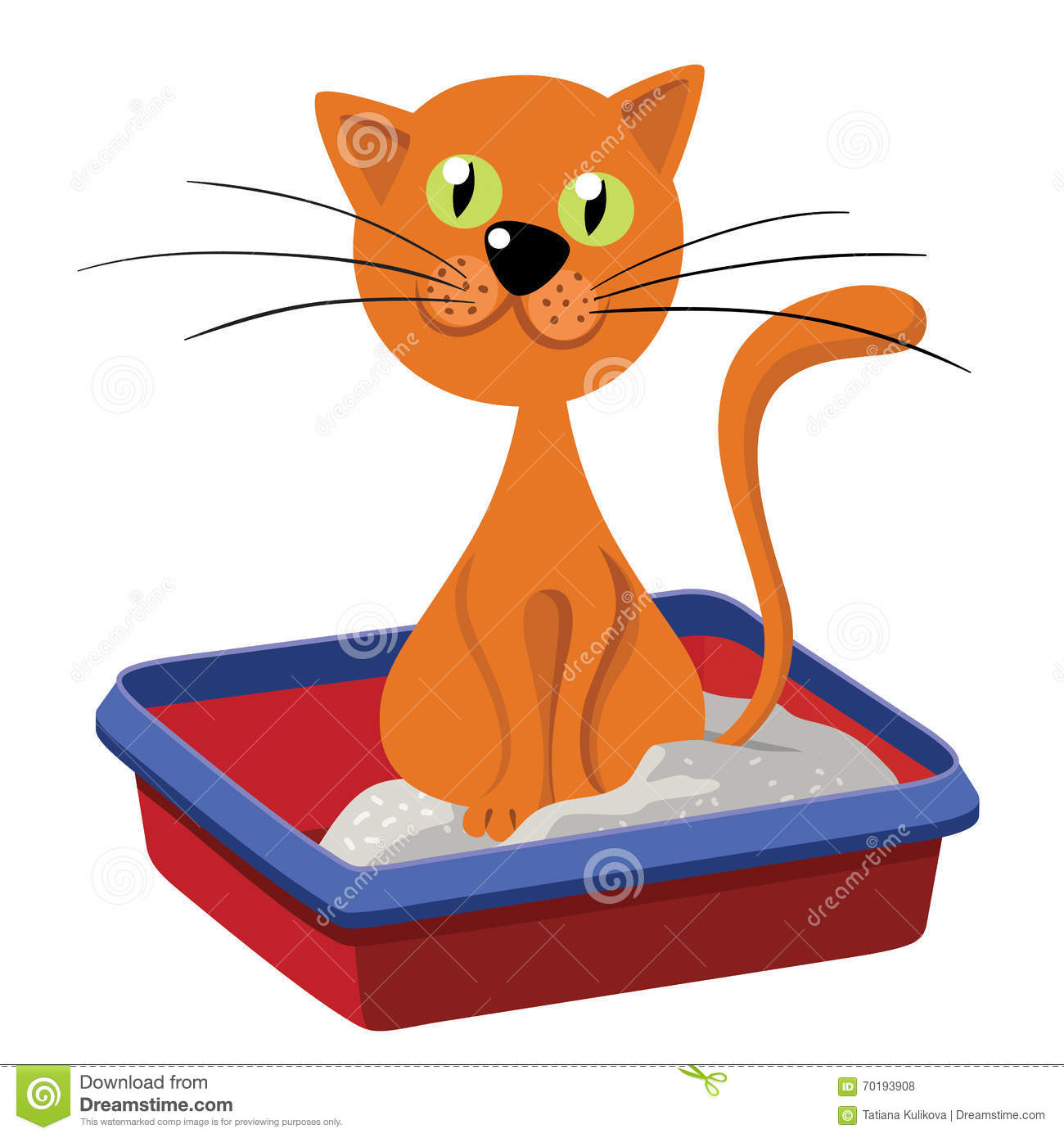 Cat Inside Litter. Illustration Of A Funny Redhead Streaked.