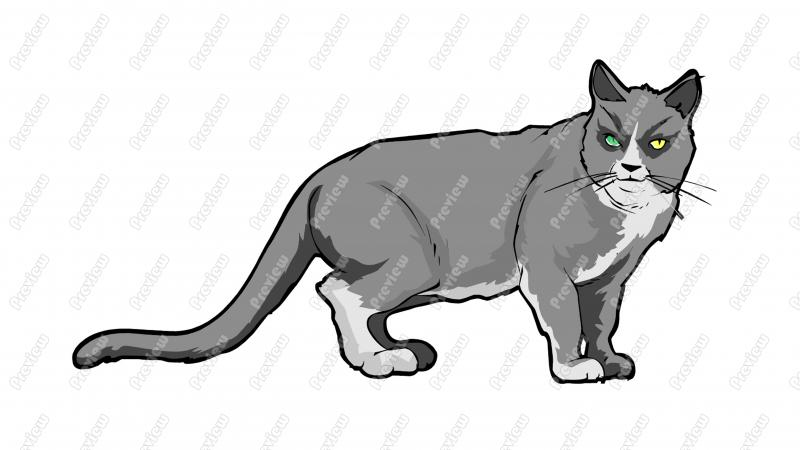 Domestic Cat Character Clip Art.