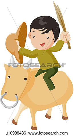 Clip Art of domestic animal, character, bull, cow, animal.