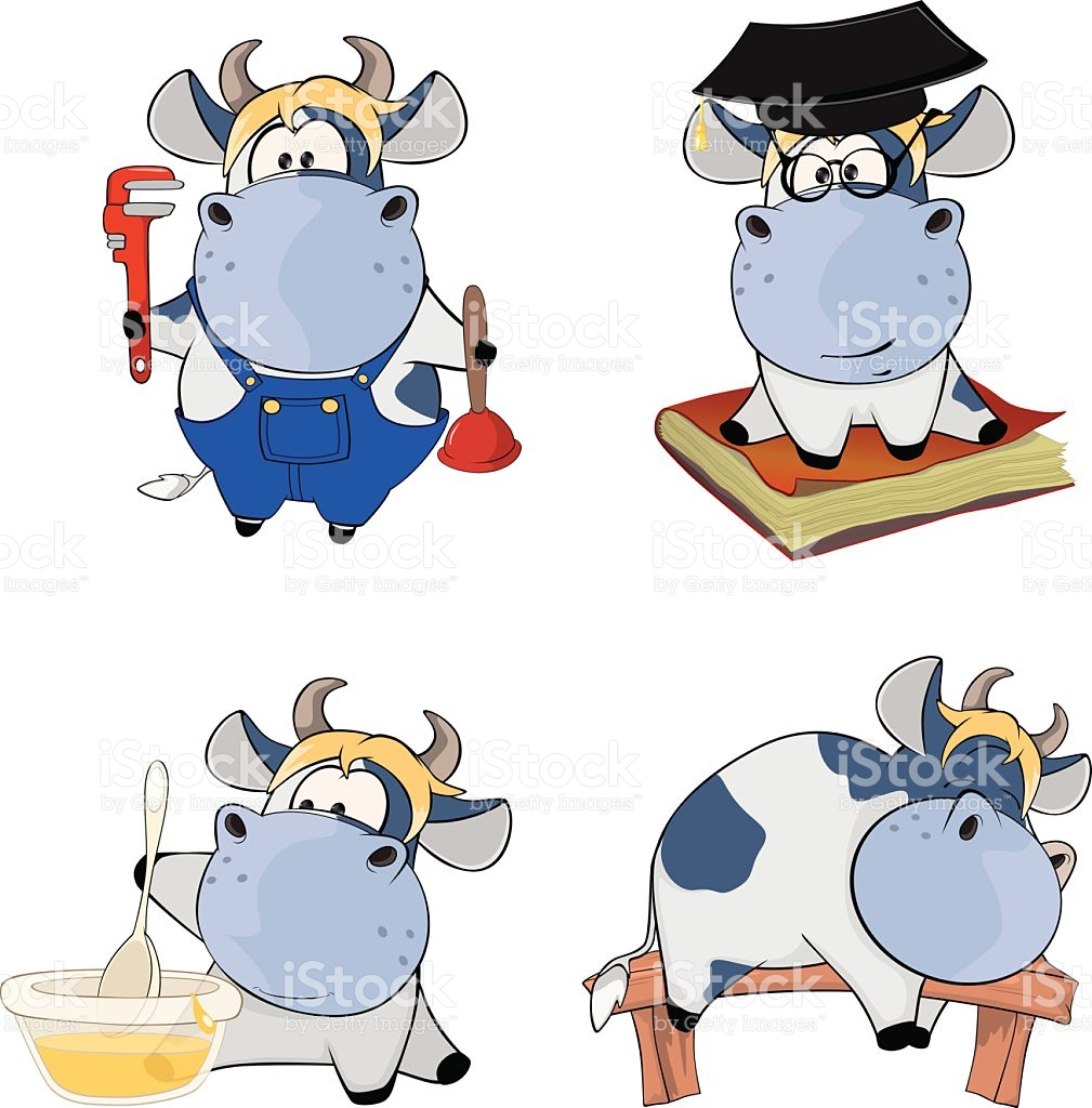 Happy Cowsclipart Cartoon stock vector art 477694602.