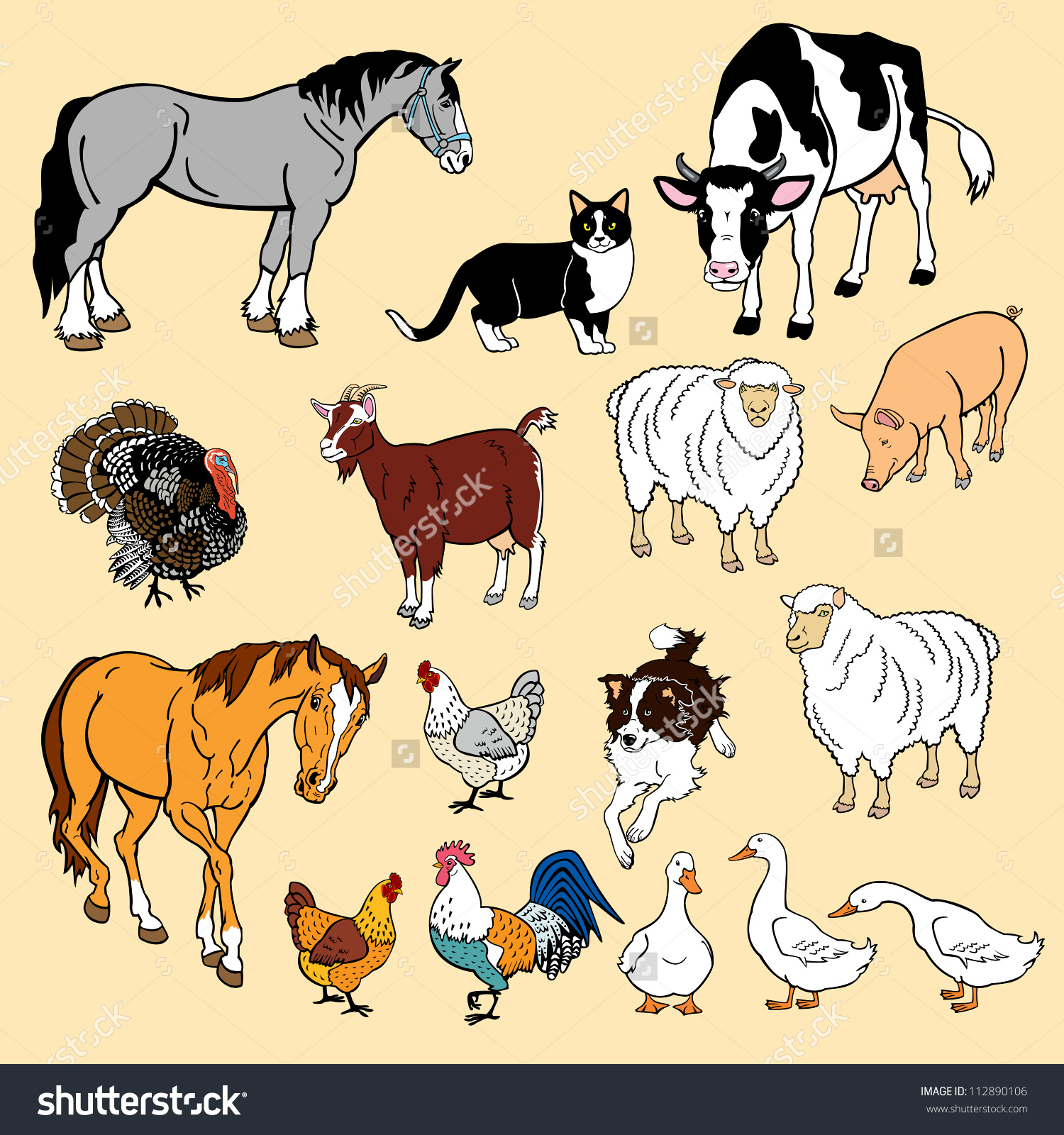 Vector Set Domestic Animalsisolated Pictures Stock Vector.