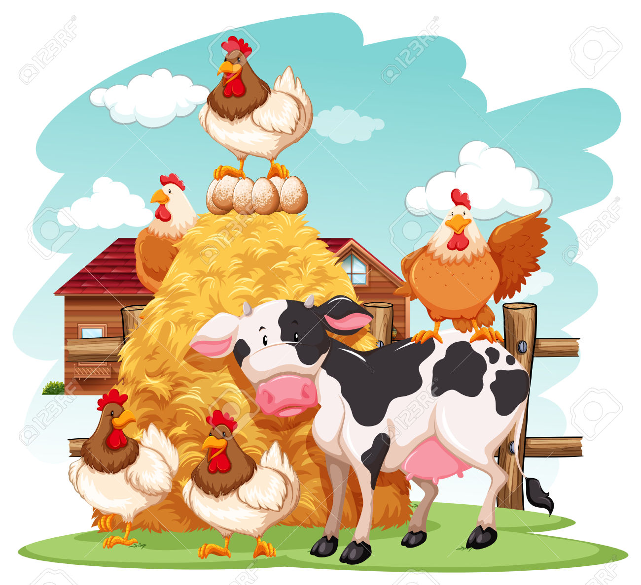 Group Of Domestic Animals In A Farm Royalty Free Cliparts, Vectors.