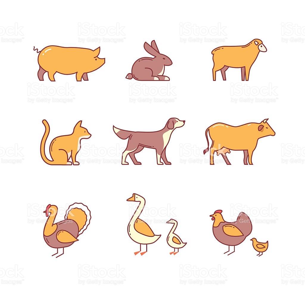 Domestic And Farm Animals stock vector art 494287896.