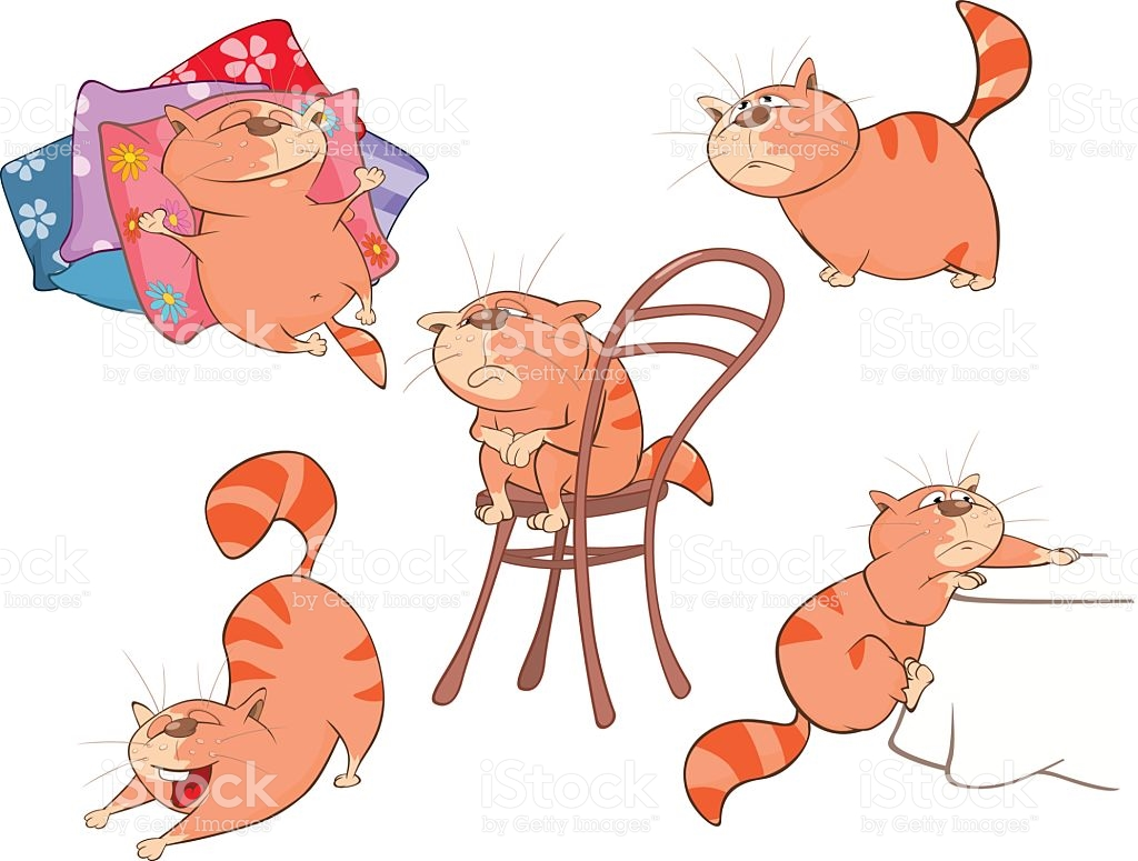 Set Of Cartoon Illustration Cute Cats For You Design stock vector.