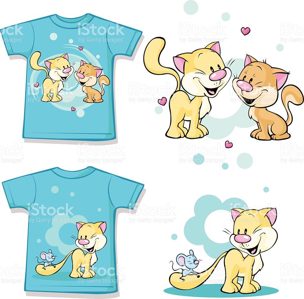Kid Shirt With Cute Cat In Love Printed stock vector art 518910951.