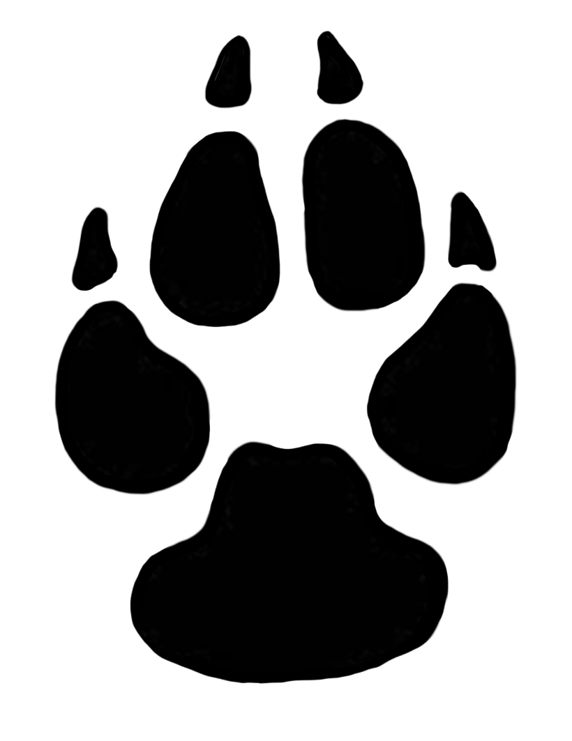 Domestic dog paw print clipart.