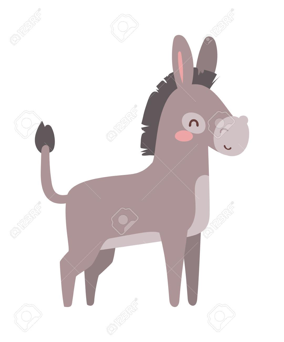 Cartoon Cute Donkey And Cute Cartoon Small Horse Donkey. Cartoon.