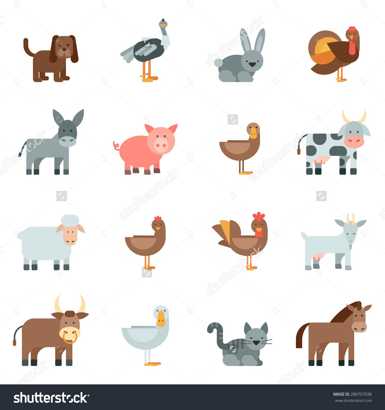 Domestic Animal Flat Icons Set Dog Stock Vector 280707038.