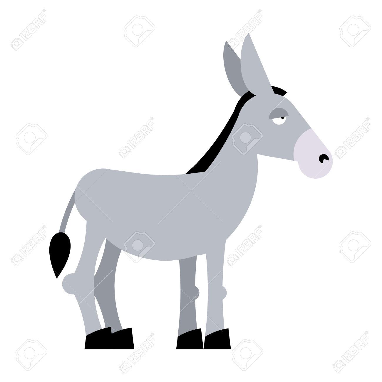 Donkey On White Background. Donkey Isolated. Cartoon Donkey.