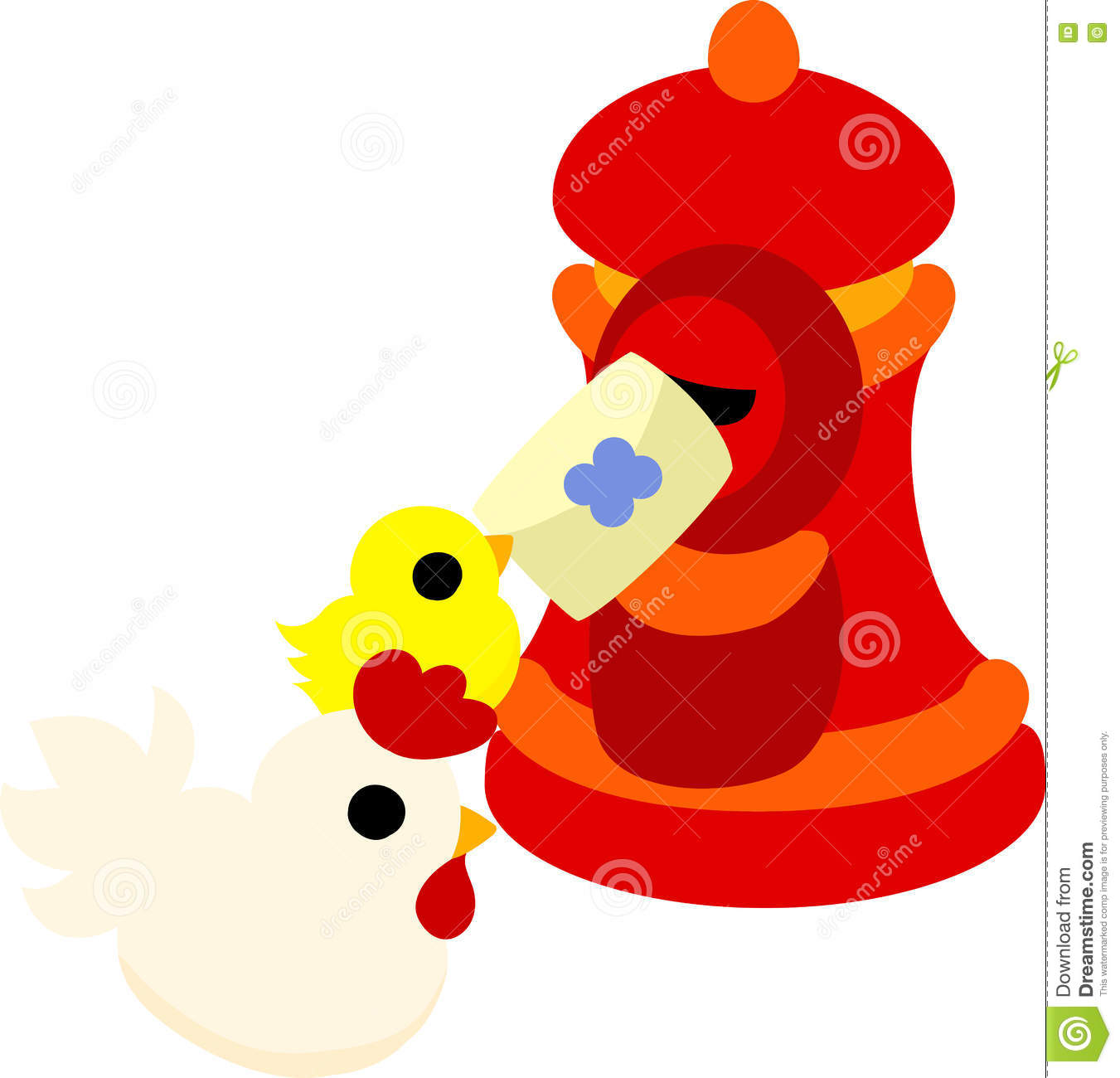 The Cute Domestic Fowl And Chick Stock Vector.