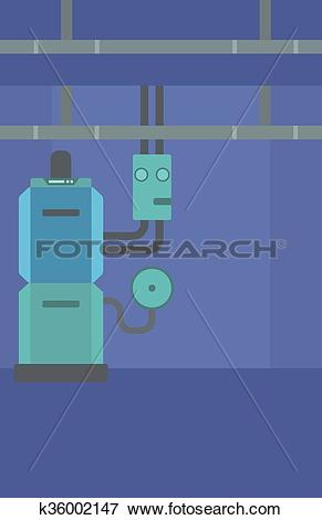 Clip Art of Background of domestic household boiler room.