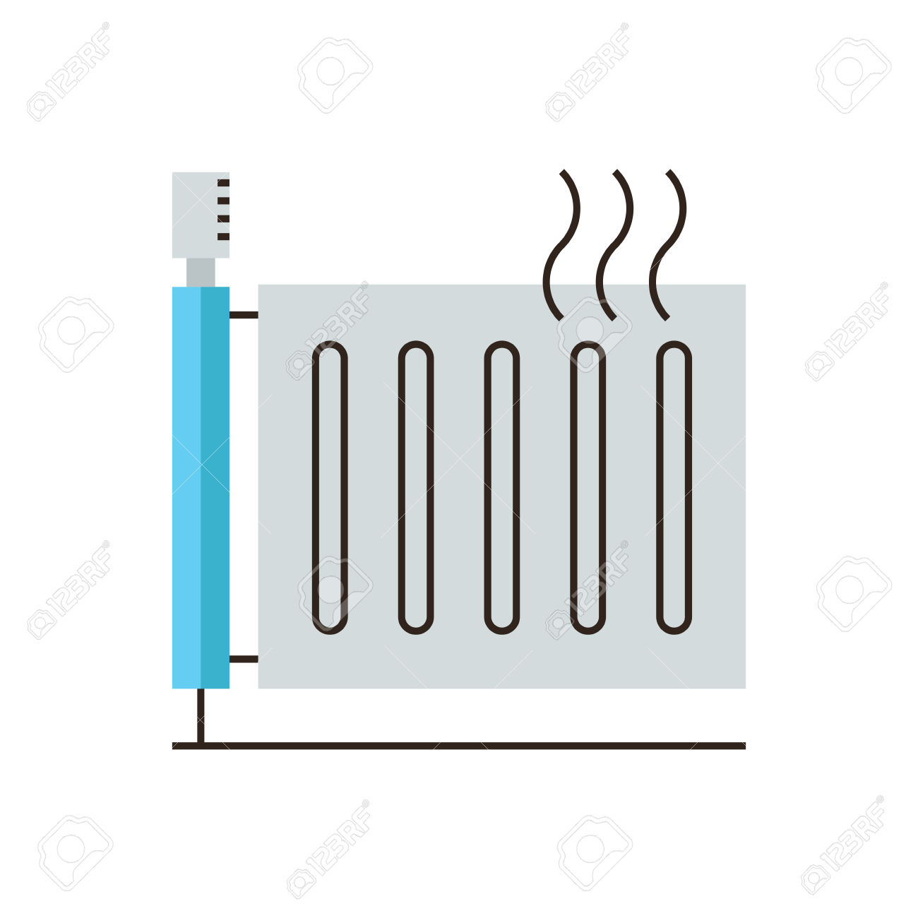 Thin Line Icon With Flat Design Element Of Heating Radiator.